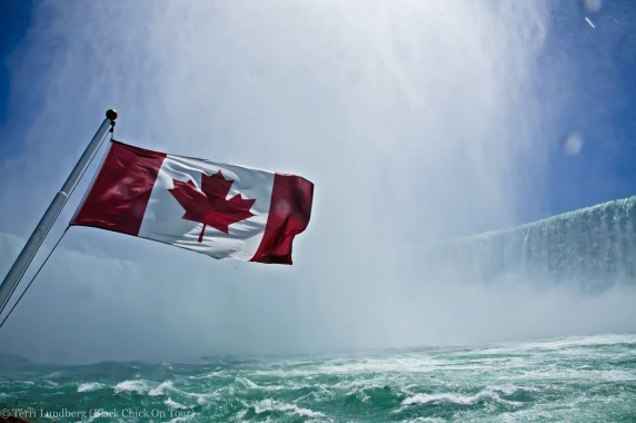 Canadian Flag with Horseshoe Falls
