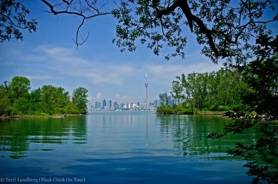 Peekaboo Toronto Skyline from Toronto Island