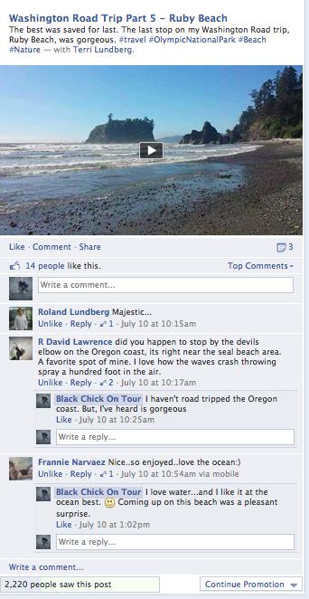 WA Road Trip Facebook Ruby Beach Video Screen Shot