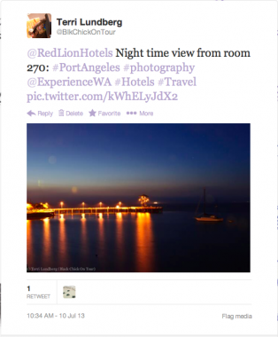 WA Road Trip Hotel with Photo Tweet