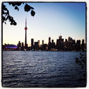 Toronto's skyline as seen from Toronto Island.
