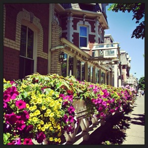 Flower lined sidewalks in  the historic town of Niagara-on-the-Lake