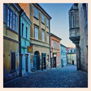 The cobblestoned streets of Kutná Hora, Czech Republic.