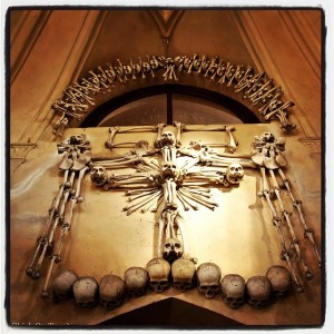 A cross made of bones at The Kostnice Ossuary aka The Bone Church, in Kutná Hora.