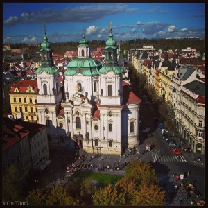 The view from the top of the Astronomical Clock Tower in Prague