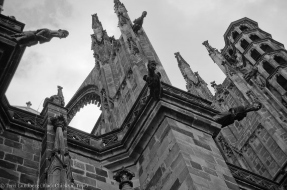 The spires of the Cathedral of St Vitus at Prague Castle in Black and White.
