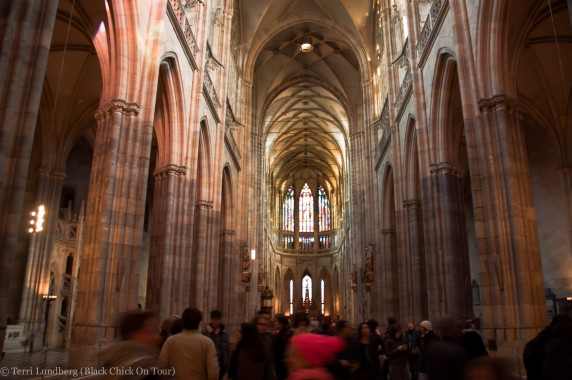 Inside the Cathedral of St Vitus at Prague Castle