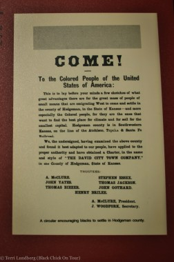 "Advertisement for ""Colored"" People to come to Kansas, the land of John Brown."
