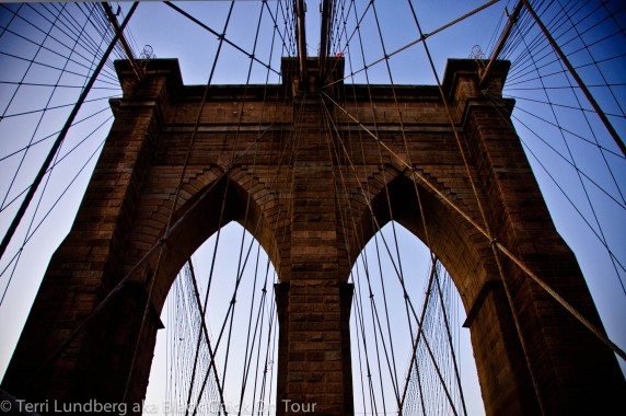 The Brooklyn Bridge, structure and cables.