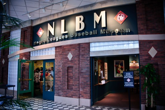 The entrance to the Negro Leagues Baseball Museum and the museum shop.