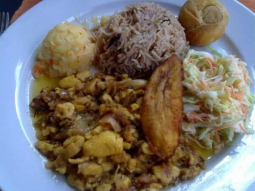 Ital Stew with rice and peas and cabbage slaw.