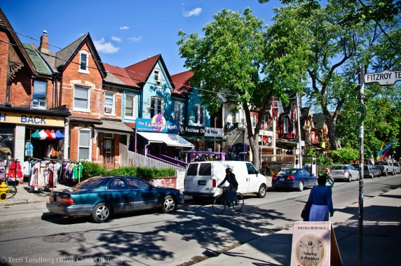 Vibrant colored houses line the streets of Kensington Market.